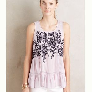 Anthropologie-Floreat- Roselle Embroidered Flounce